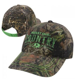Mossy Oak County Contrast Stitch Embroidered Camo Cap- MOC/Green