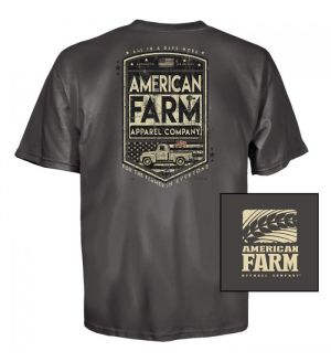 American Farm Truck Farmer T-Shirt (S)- Charcoal