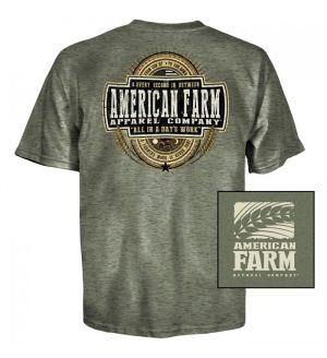 American Farm Sun Up 'Til Sun Down T-Shirt (S)- Hthr Military Grn