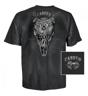 Carved Whitetail USA T-Shirt (S)- Black Heather