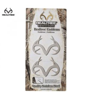 """Realtree Outfitters Antler 8""""x3"""" Emblem (2PK)- Stainless Steel"""