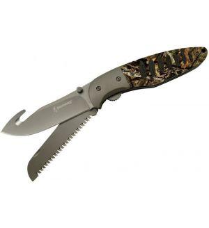 "Browning Hunt 'N Gut Folding Knife 3.5"" Guthook & Saw Blades, Mossy Oak Aluminum Handles - 3220054"