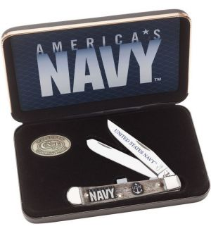 "Case US Navy Embellished Smooth Natural Bone Trapper in Jewel Box 4-1/8"" Closed (6254 SS) - 17700"