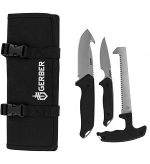Gerber Moment Hunting Kit 3 Fixed Saw, Caping and Guthook Knives, Nylon Sheath - 31-002683