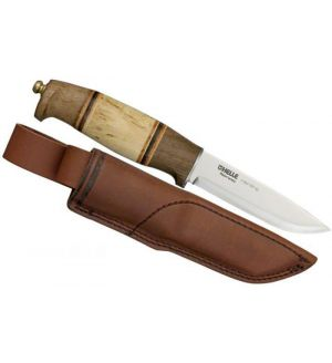 "Helle Harding Hunting Knife 4"" Blade, Walnut and Curly Birch Handle, Leather Sheath - 99"