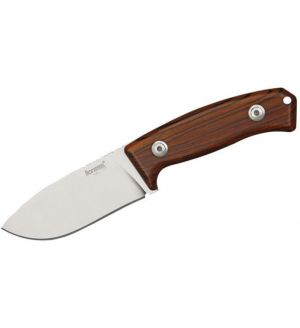 "LionSteel M2 ST MCKF Hunter Fixed 3.54"" D2 Drop Point Blade, Santos Wood Handles, Leather Sheath"