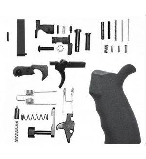 AR-15 Lower Receiver Parts Kit- With Right Hand Overmolded Rubber Pistol Grip