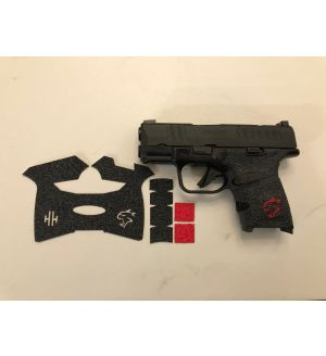 Handleitgrips Textured Rubber Gun Grips for Springfield Hellcat with Red Inserts