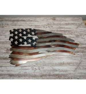 Tattered American Flag - Metal Sign - Powder Coated-32in