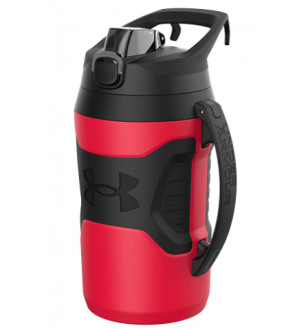 Under Armour Playmaker 64oz Water Bottle Jug, Fence Hook Handle, Protective Lid w/ Lock Button, Outer Body Grip
