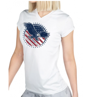 WSI Sports Microtech™ Women's Land of the Free Short Sleeve V-Neck Shirt
