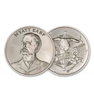 Intaglio Mint 1-oz Silver Wild West Legends Wyatt Earp Medal BU