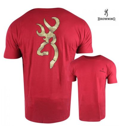 Browning A-TACS Buckmark T-Shirt (M)- Cardinal Red/Black