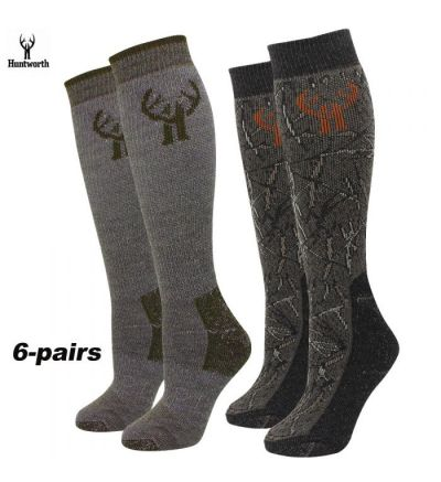 Huntworth 20% Merino Blend Socks Camo Brown/Brown (L:9-13) 6-PAIR