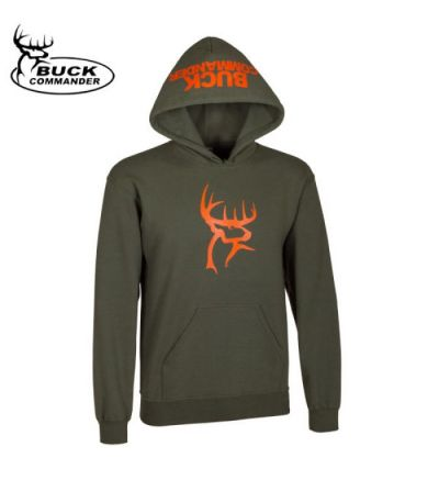 Buck Commander Logo Hoodie (L)- Moss/Orange