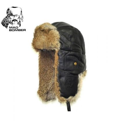 Mad Bomber Leather Bomber Hat (2X)- Black/Brn Rabbit