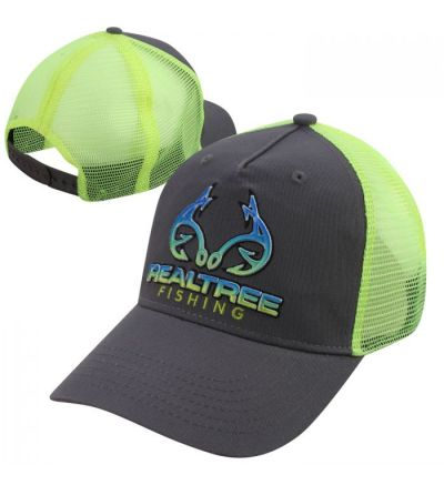 Realtree Fishing Hook Embroidered Meshback Trucker Cap- Charcoal/Neon Yellow