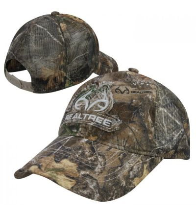 Realtree Antler Embroidered Frayed Patch Meshback Camo Cap- RTE