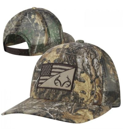 Realtree Flag/Antlers Patch Camo Cap- RTE