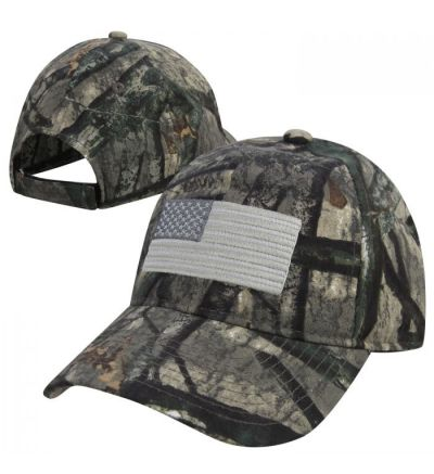 Mossy Oak Embroidered Silver American Flag Cap-MOTS/Silver