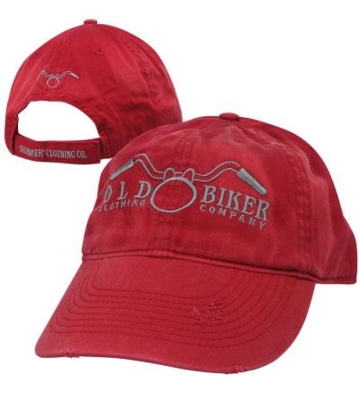 Old Biker Clothing Company Distressed Vintage Logo Cap- Red Heather