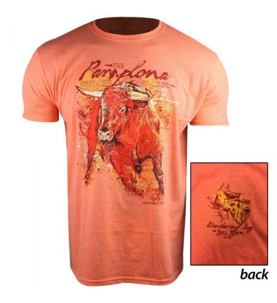 Wandering Dog Pamplona Bull Run T-Shirt (L)- Orange Heather