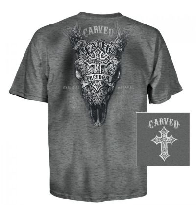 Carved Faith & Freedom T-Shirt (S)- Charcoal Heather