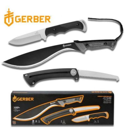 Gerber 3-Knife Set: Pursuit Hunting Kit (Kukri Machete, Saw, Fixed Blade)