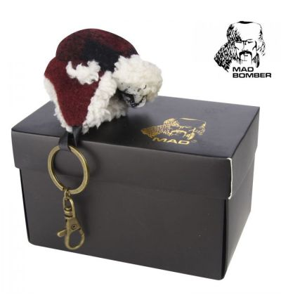 Mad Bomber Wool Bomber Berber Key Chain- Maroon