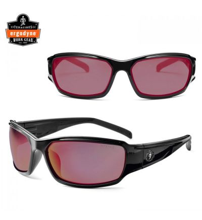 Ergodyne Skullerz Thor Safety Sunglasses- Black/Mirror Red