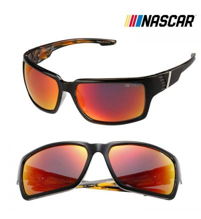 NASCAR Sunglasses Hauler Polarized- Shiny Black/Amber Crystal