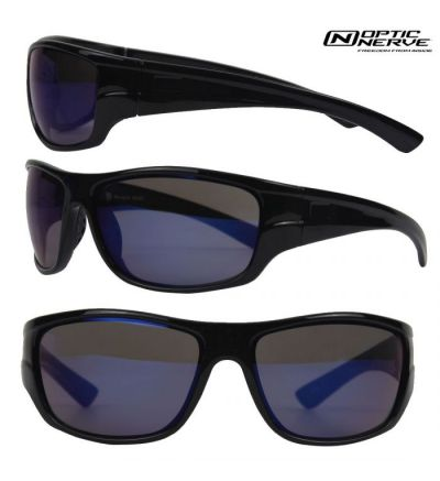 Optic Nerve Mountain Shades Marquis Sunglasses- Shiny Black/Amber