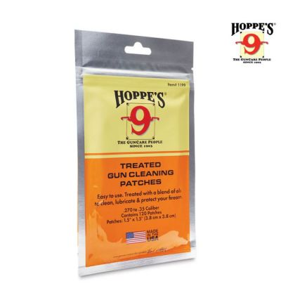 Hoppe's Treated Gun Cleaning Patches(.22-.270 cal) (120PK)