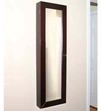 Pebble Beach Espresso Jewelry Armoire - Wall-Mounted w/ Mirror