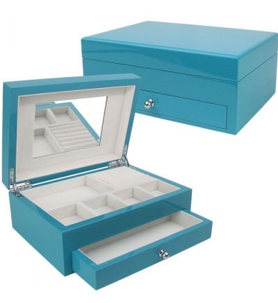 Reed & Barton Cool Blue - High-Gloss Jewelry Box