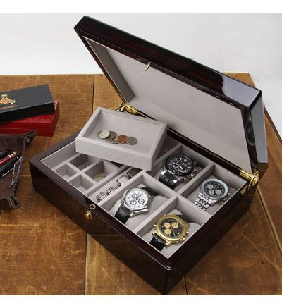 Quentin Ultimate Mens Valet & 4-pc Watch Box