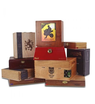 Empty Wooden Cigar Boxes - Set of 10