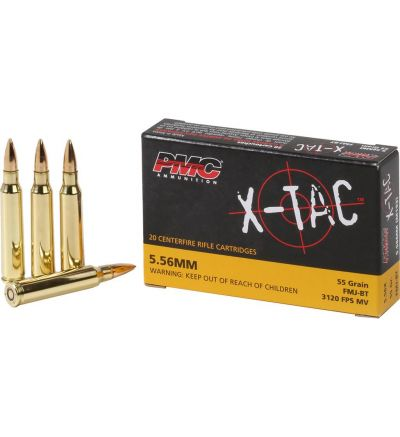 PMC X-Tac Ammunition 5.56x45mm NATO 55 Grain XM193 Full Metal Jacket Boat Tail Box of 20