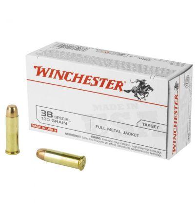 Winchester .38 Spl 130gr FMJ, 50/box (500rd case/10 boxes)