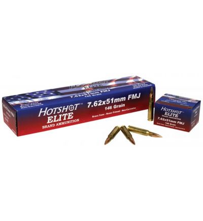 Hotshot Elite 7.62x51 FMJ 146gr, 20rds/box, 100rds/range pack, 10 range packs/case