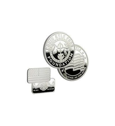 Chris Kyle Frog Foundation Silver Proof Coin and Silver Bar Bundle