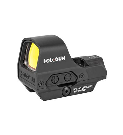 Holosun Technologies, Open Reflex, 2MOA Dot or 2MOA Dot with 65MOA Circle, Solar with Internal Battery, Quick Release Mount, AR Riser, Protective Hood, Black Finish