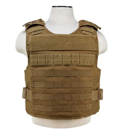 NcStar Tactical Airsoft MOLLE Plate Carrier Vest - TAN