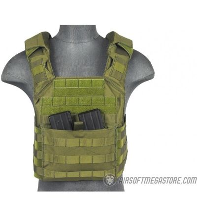 Lancer Tactical 1000D Speed Attack MOLLE Plate Carrier V2 - OD GREEN