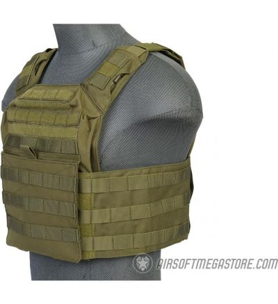 Lancer Tactical 1000D Nylon S.A.P.C. Airsoft Plate Carrier  - OD GREEN