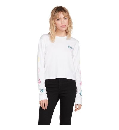 THE VOLCOM STONES LONG SLEEVE TEE - WHITE - WHITE / X-Small