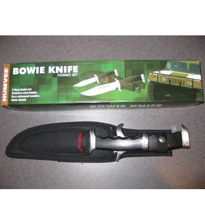 Humvee 2pc Bowie Knife Set, black packawood handles