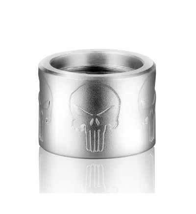 Backup Tactical Thread Protector - PUNISHER SKULL PATTERN THREAD PROTECTOR 1/2 x 28 - Silver