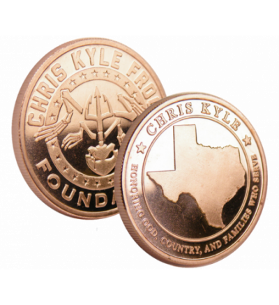 Chris Kyle Frog Foundation 1 ounce, .999 ADVP Copper Coin  - Buy 5 Get 3 Free - State of Texas Design