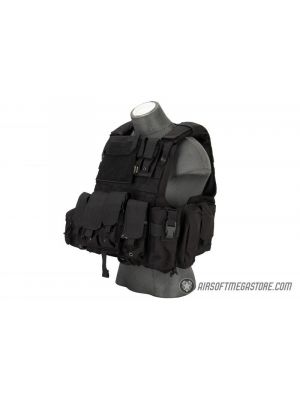 Flyye Industries 1000D Cordura Large Recon Vest w/ 9 Pouches [LRG] - BLACK